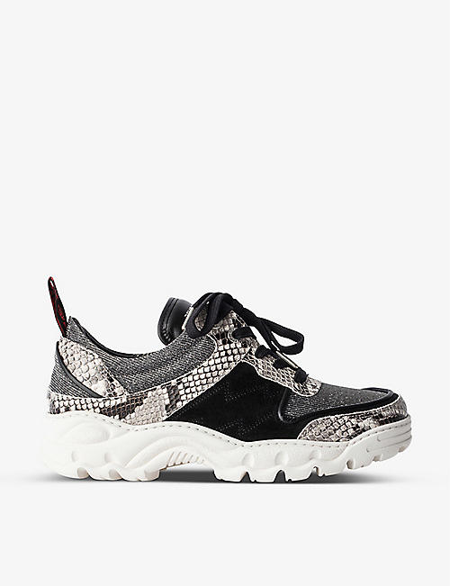 ZADIG&VOLTAIRE: Blaze snakeskin-embossed leather and lurex trainers