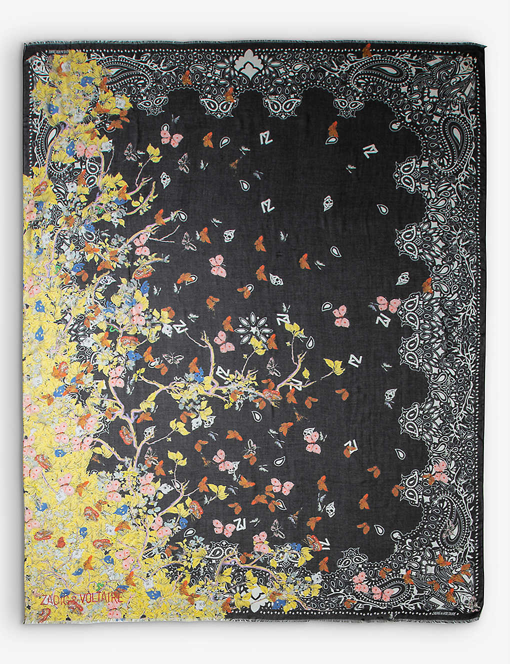 ZADIG&VOLTAIRE: Fray Blossom graphic-print scarf