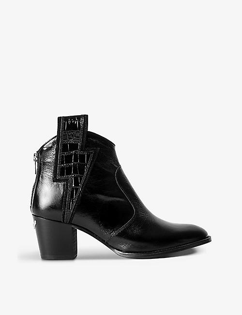ZADIG&VOLTAIRE: Molly Flash lightning-panel leather ankle boots