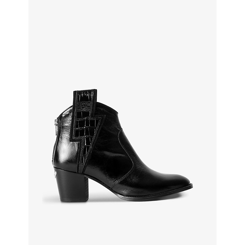 Zadig & Voltaire MOLLY FLASH LIGHTNING-PANEL LEATHER ANKLE BOOTS