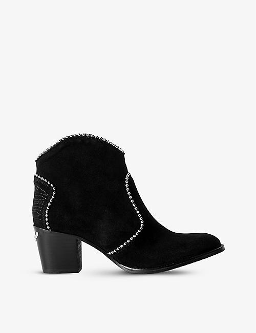 ZADIG&VOLTAIRE: Molly stud-embellished suede ankle boots