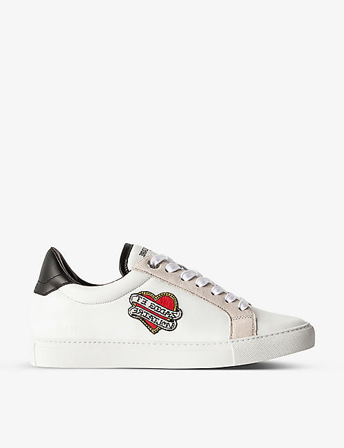 ZADIG&VOLTAIRE: ZV1747 heart-patch leather trainers