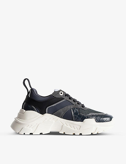 ZADIG&VOLTAIRE: Future croc-embossed faux-leather and mesh chunky trainers