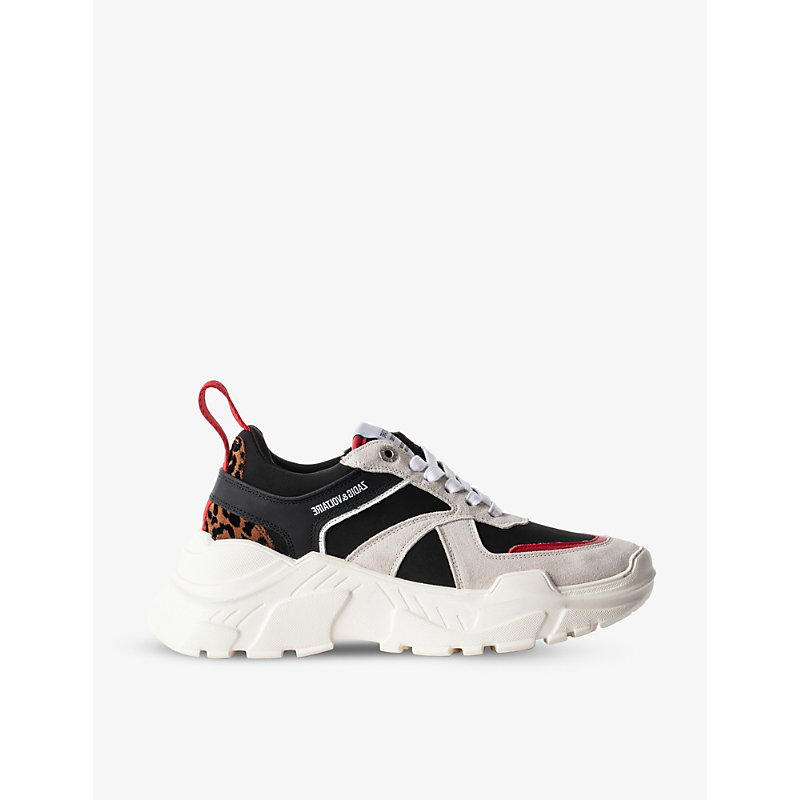 Zadig & Voltaire FUTURE LEO PANELLED FAUX-SUEDE TRAINERS