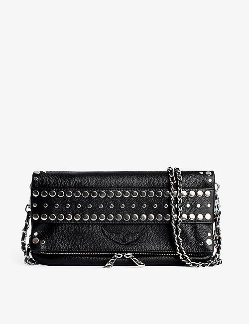 ZADIG&VOLTAIRE: Rock embellished grained-leather clutch bag