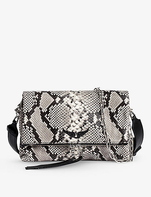ZADIG&VOLTAIRE: Rocky Wild snake-embossed leather cross-body bag