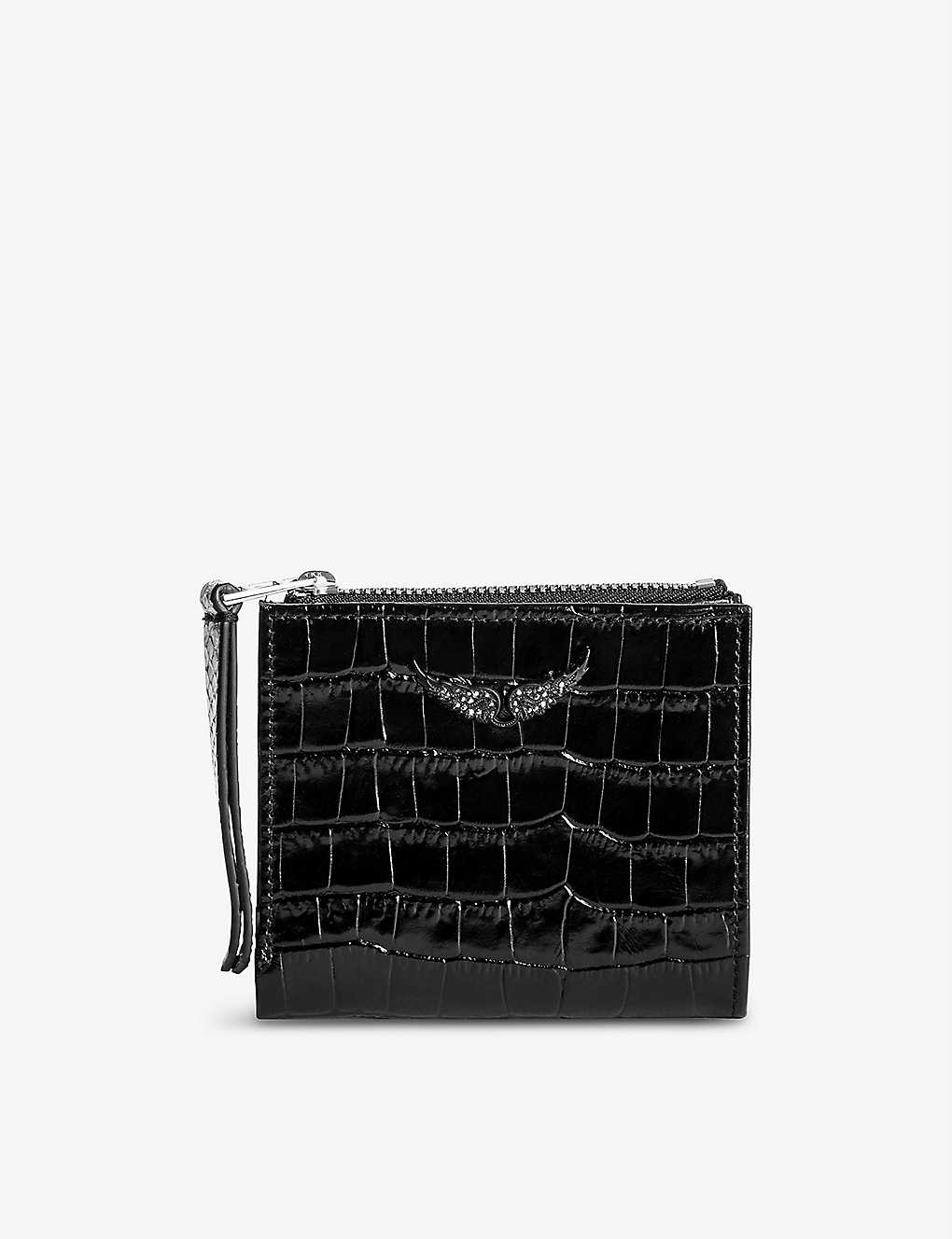 ZADIG&VOLTAIRE: ZV Fold croc-embossed leather coin purse