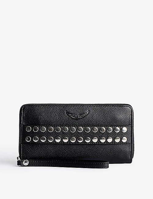 ZADIG&VOLTAIRE: Compagnon stud-embellished grained-leather wallet