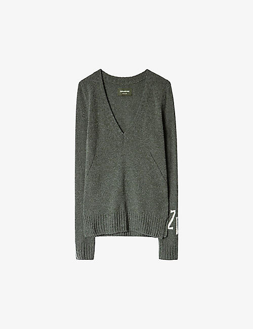 ZADIG&VOLTAIRE: Sourca logo-sleeve cashmere and wool-blend jumper