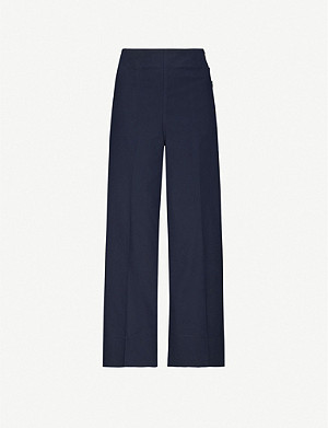 WHISTLES Cadie side button stretch-cotton trousers