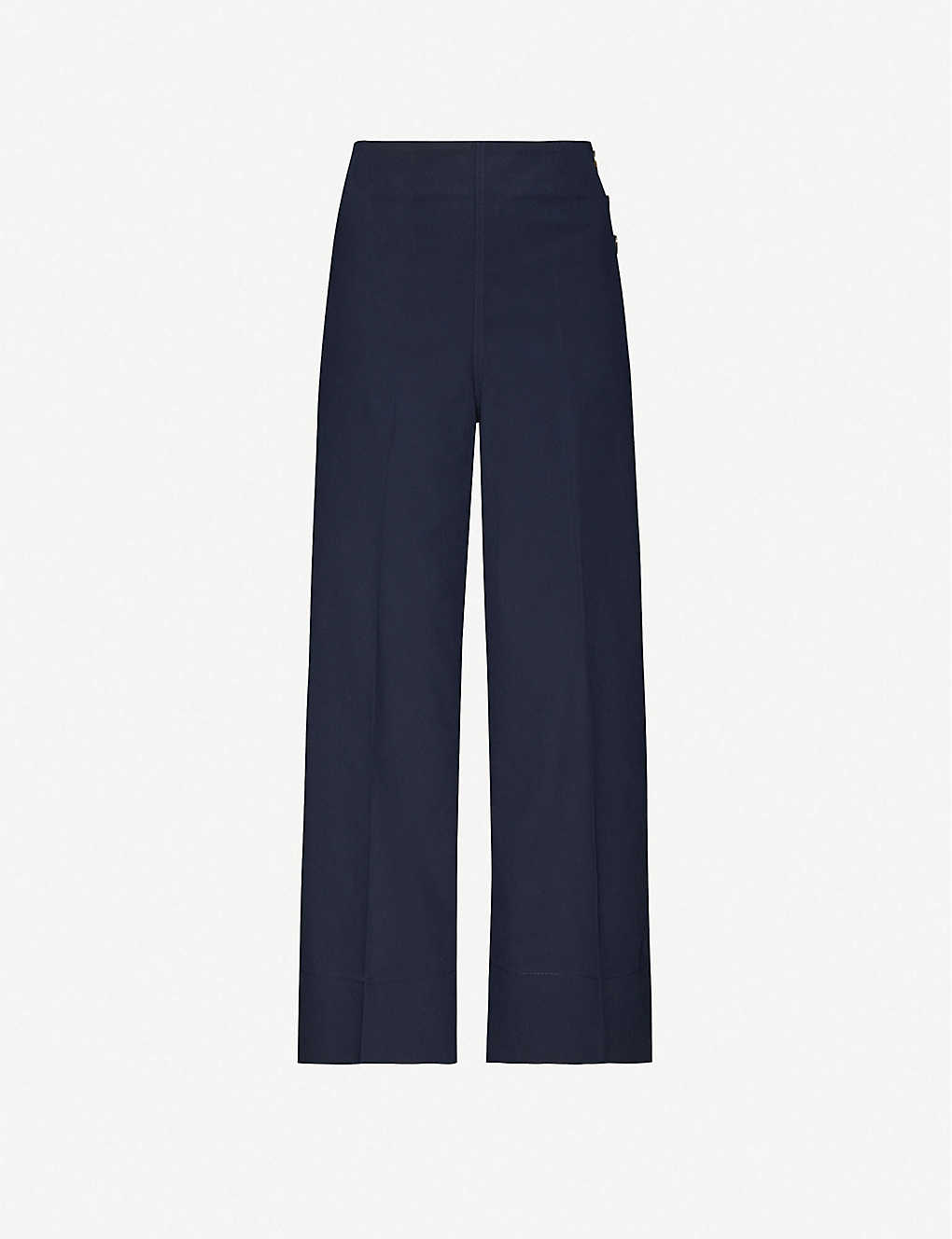 WHISTLES: Cadie side button stretch-cotton trousers