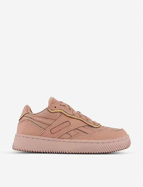 REEBOK: Reebok x Victoria Beckham Dual Court II leather-trimmed woven trainers