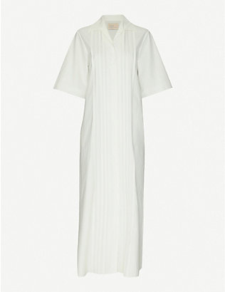 TAIGA TAKAHASHI: Eustacia pin-tucked cotton midi dress