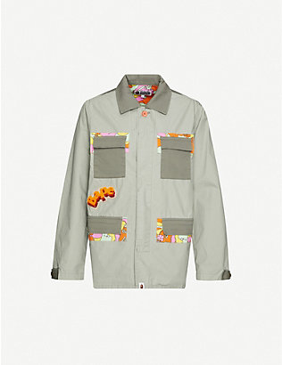 BAPE: Rainbow panelled logo-print cotton jacket