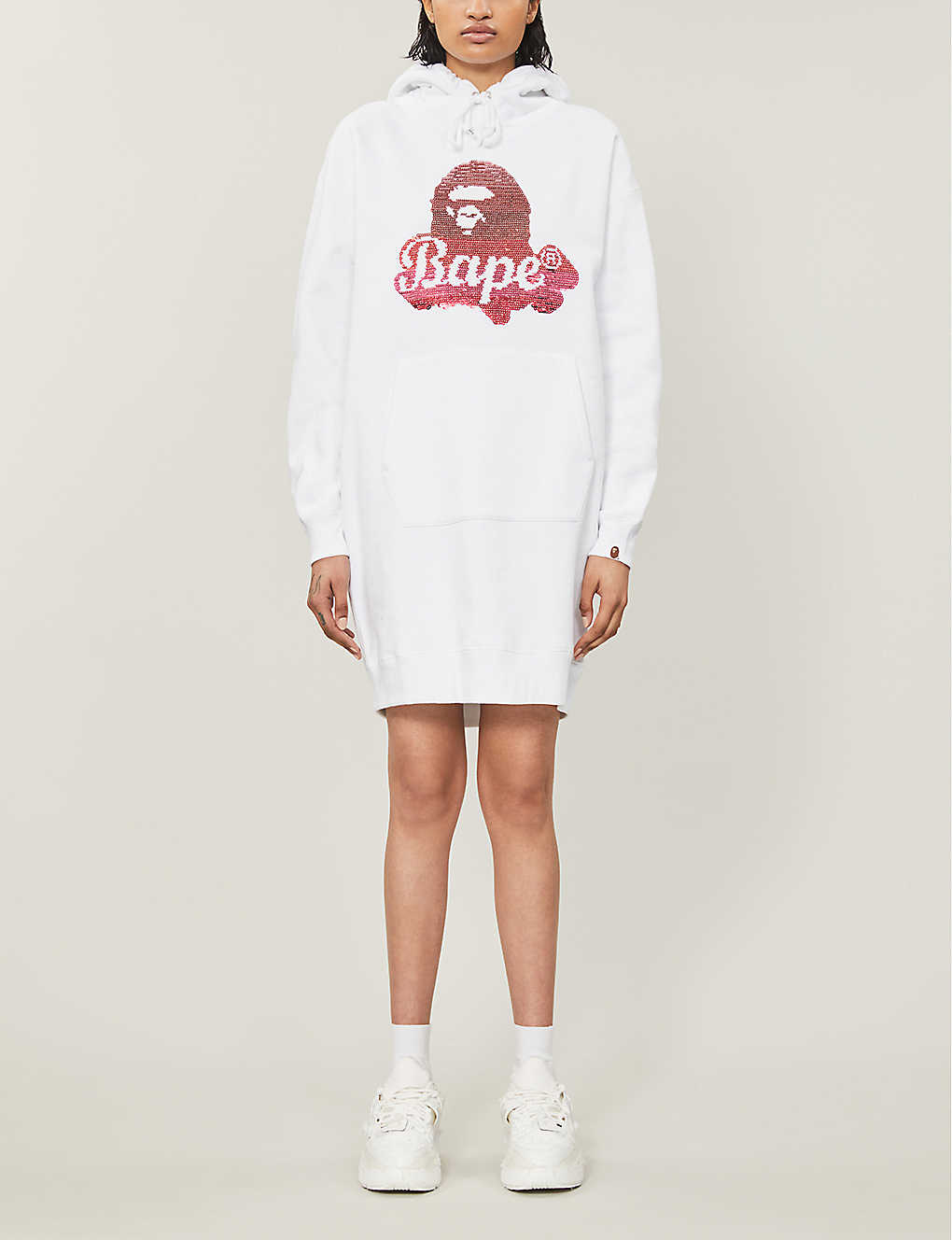 BAPE: Logo-print sequin-embellished cotton-blend jersey hoody