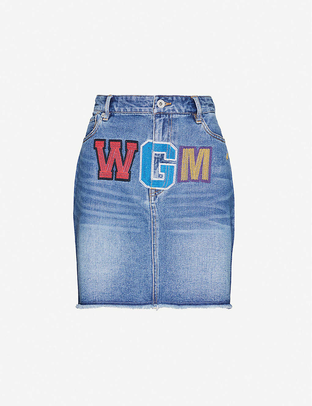 BAPE: High-waist shark logo-embroidered denim mini skirt