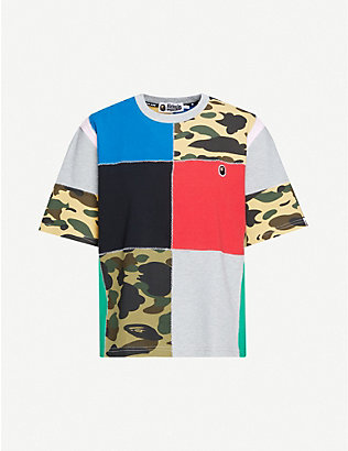BAPE: Patchwork cotton-piqué T-shirt