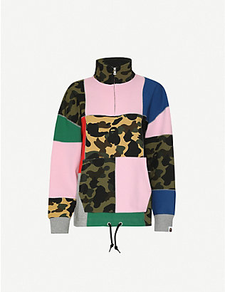 BAPE: Patchwork zipped cotton-jersey sweatshirt