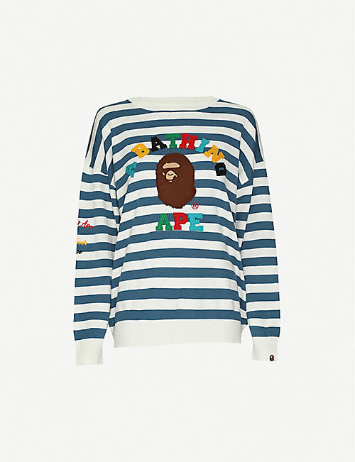 BAPE: College Appliqué cotton-jersey jumper