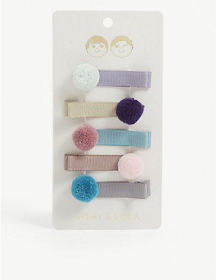 MIMI & LULA: Kids pom-pom hair grips pack of five