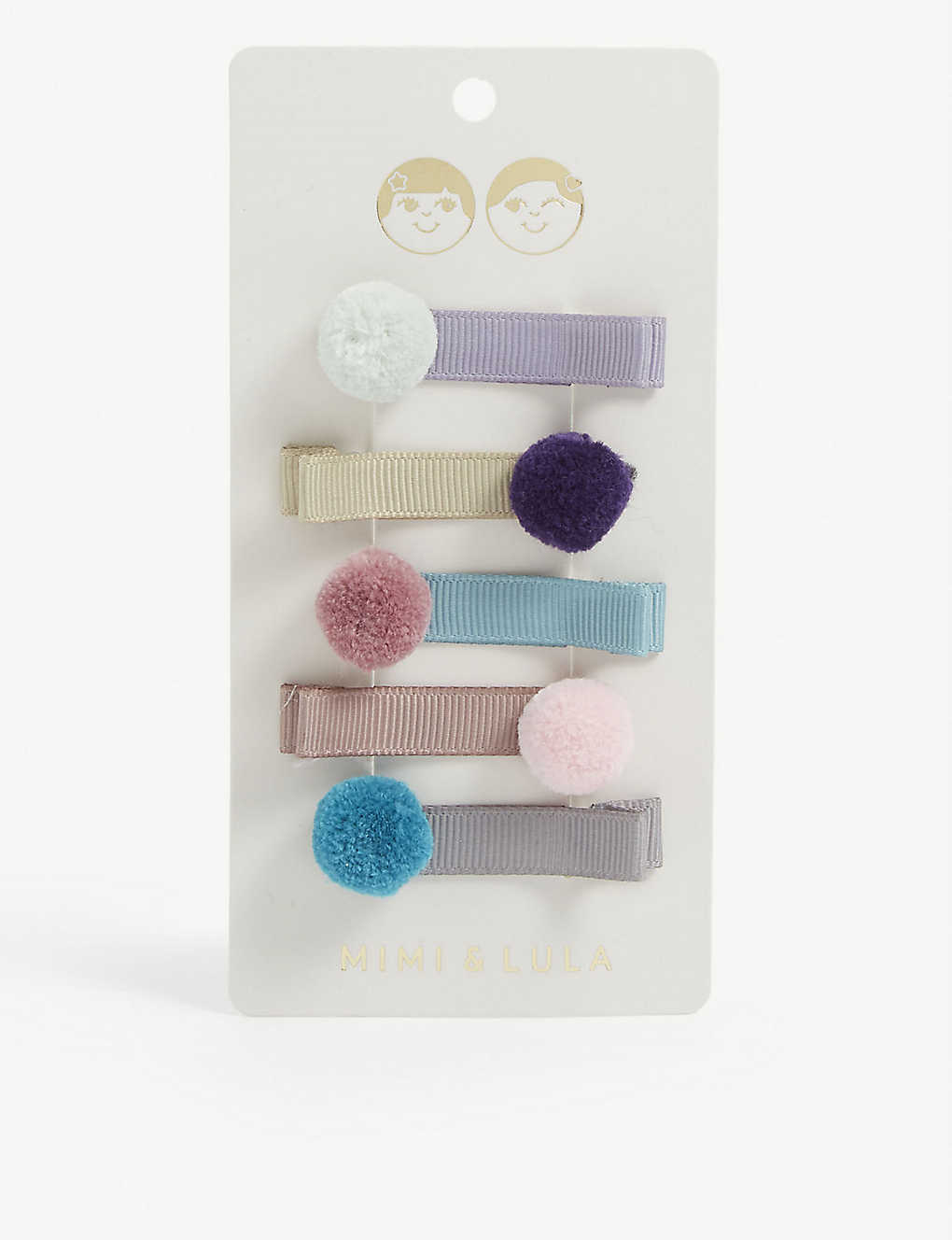 MIMI & LULA: Pom pom hair grips pack of five