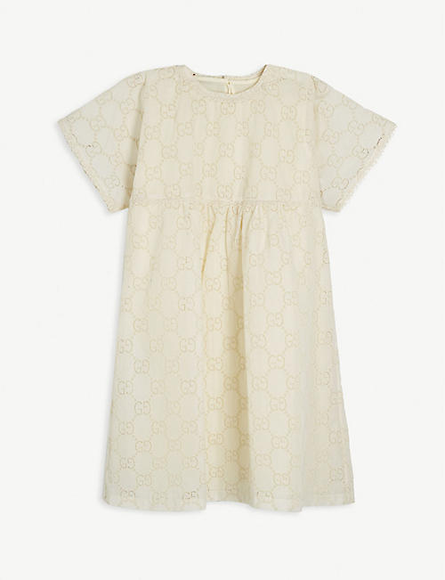 GUCCI GG monogram broderie anglaise cotton dress 4-12 years