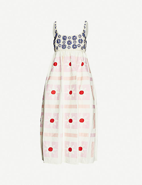 MIU MIU Jewelled floral-embellishment cotton-poplin gown