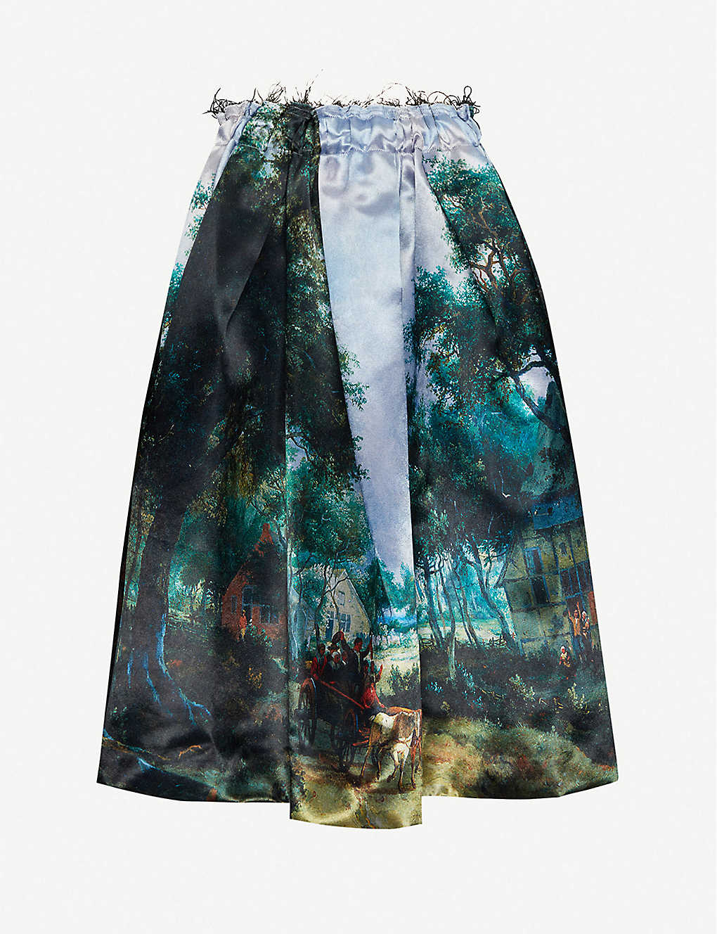 COMME DES GARCONS: Nature-print flared crepe midi skirt