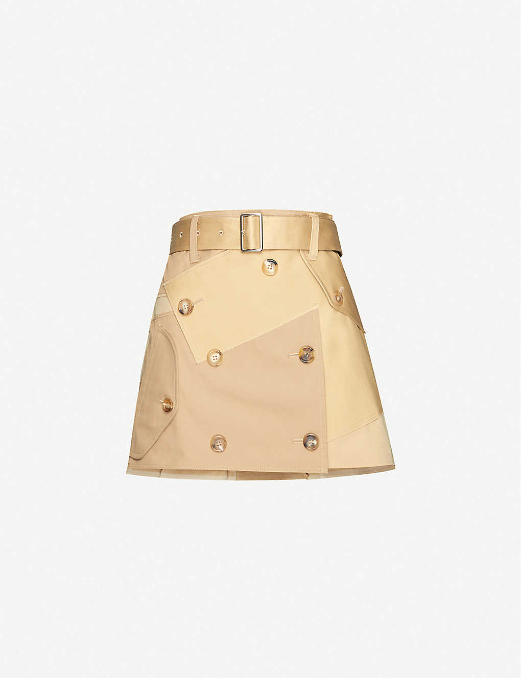 JUNYA WATANABE: Patchwork high-waisted cotton-blend mini skirt