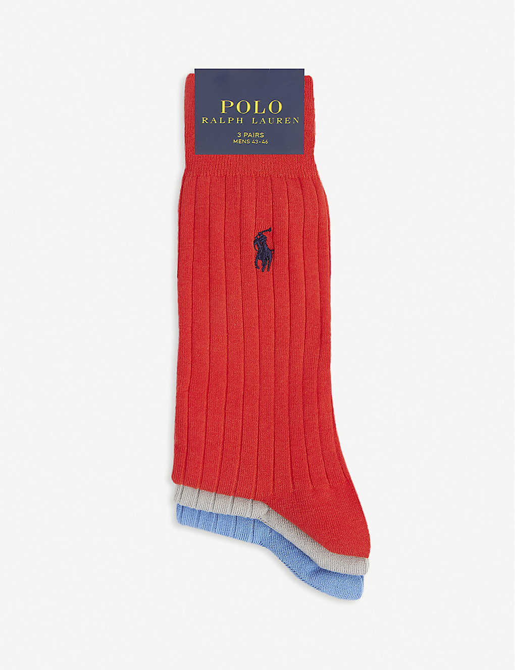 POLO RALPH LAUREN: Ribbed logo-embossed cotton socks pack of three