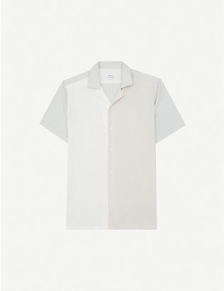 REISS: Seb colour-blocked relaxed-fit crepe shirt