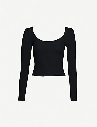 TOPSHOP: Square neckline cotton-blend top