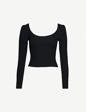 TOPSHOP Square neckline cotton-blend top