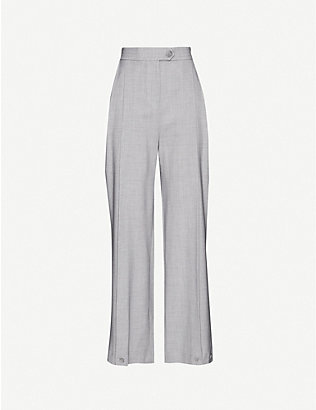 TOPSHOP: Pleated wide-leg high-rise stretch wool-blend trousers