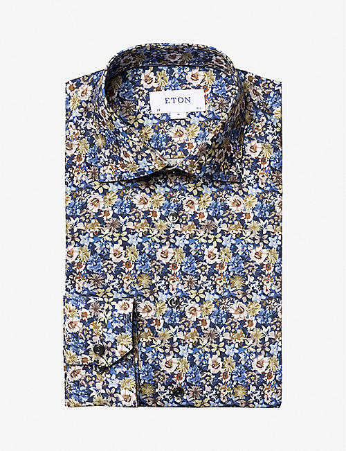 ETON: Floral-print slim-fit cotton-twill shirt