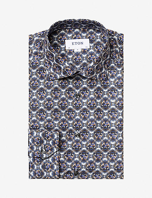 ETON: Geometric-print slim-fit cotton-twill shirt