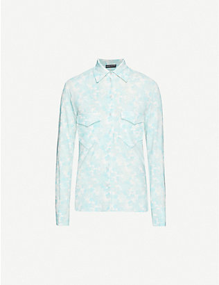 KWAIDAN EDITIONS: Floral-print loose-fit stretch-crepe shirt