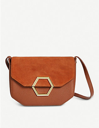 TED BAKER: Lenah leather and suede cross-body bag