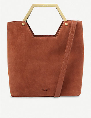 TED BAKER: Layah leather and suede shopper bag