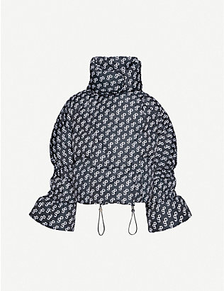 SAKS POTTS: Branded-print shell-down jacket