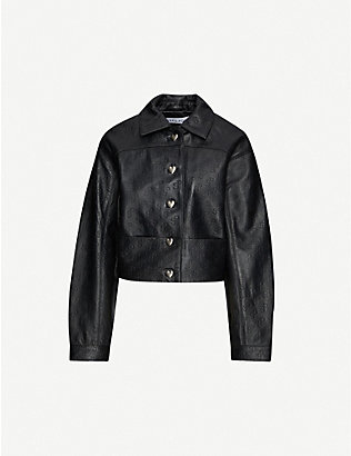 SAKS POTTS: Embossed branded-print leather jacket