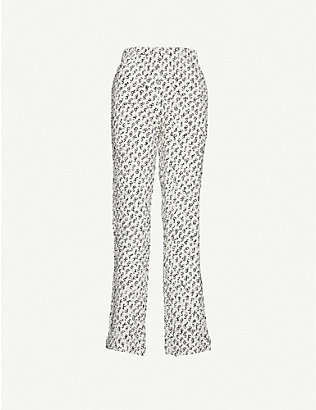 SAKS POTTS: Fiesta graphic-print high-rise woven trousers