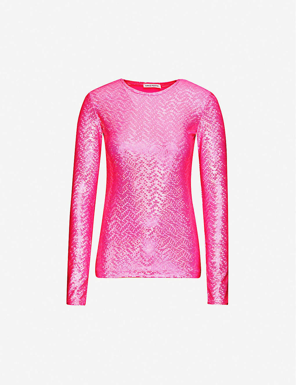 SAKS POTTS: Saya metallic polka dot-print stretch-jersey T-shirt
