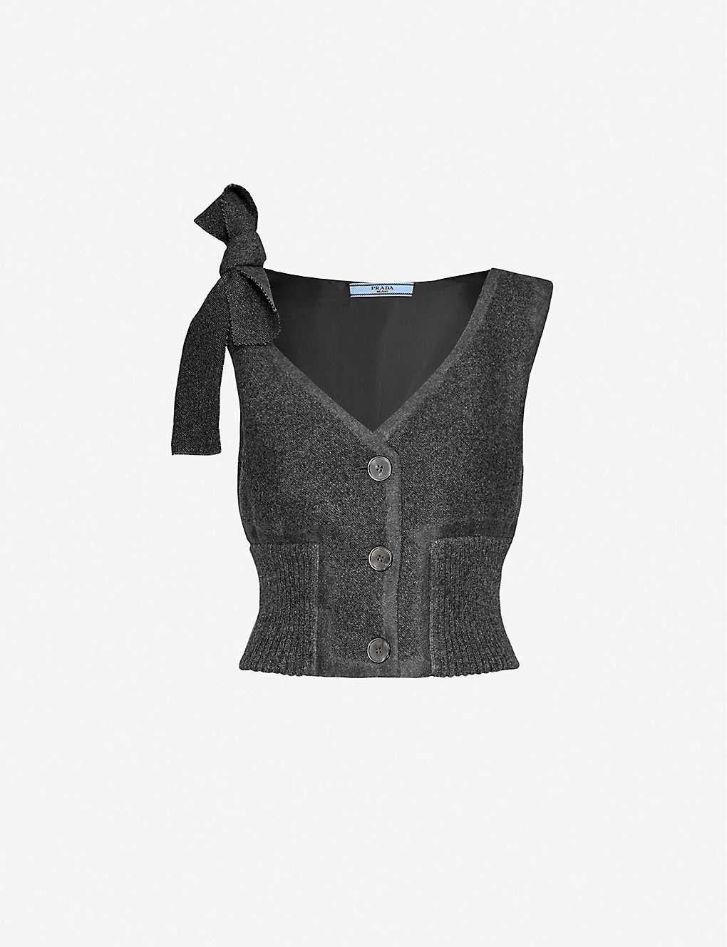 VESTIAIRE COLLECTIVE: Prada sleeveless shoulder-tie wool top