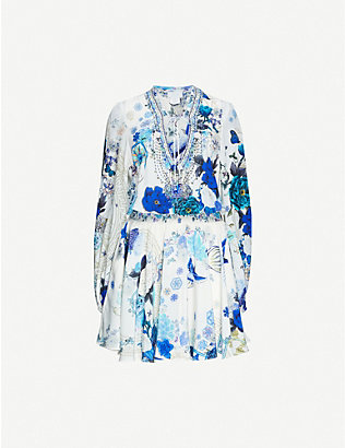 CAMILLA: White Side Of The Moon-print silk mini dress