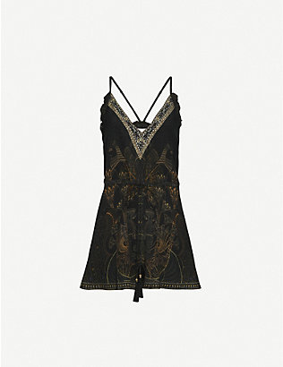 CAMILLA: Cobra King-print bead-embellished silk playsuit