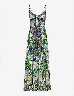 CAMILLA: Moon Garden printed silk midi dress