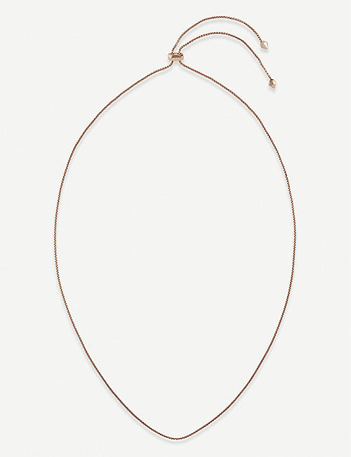 KENDRA SCOTT: Thin adjustable 14ct rose gold-plated chain necklace