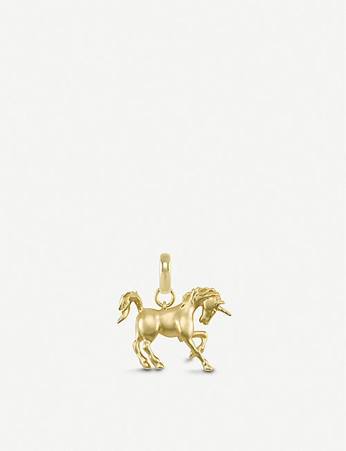 KENDRA SCOTT: Unicorn 14ct gold-plated plated vermeil brass charm
