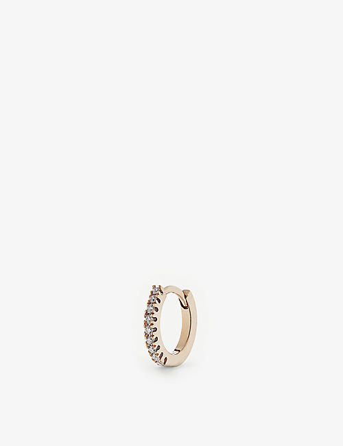 OTIUMBERG: 9ct gold medium diamond huggie hoop earring